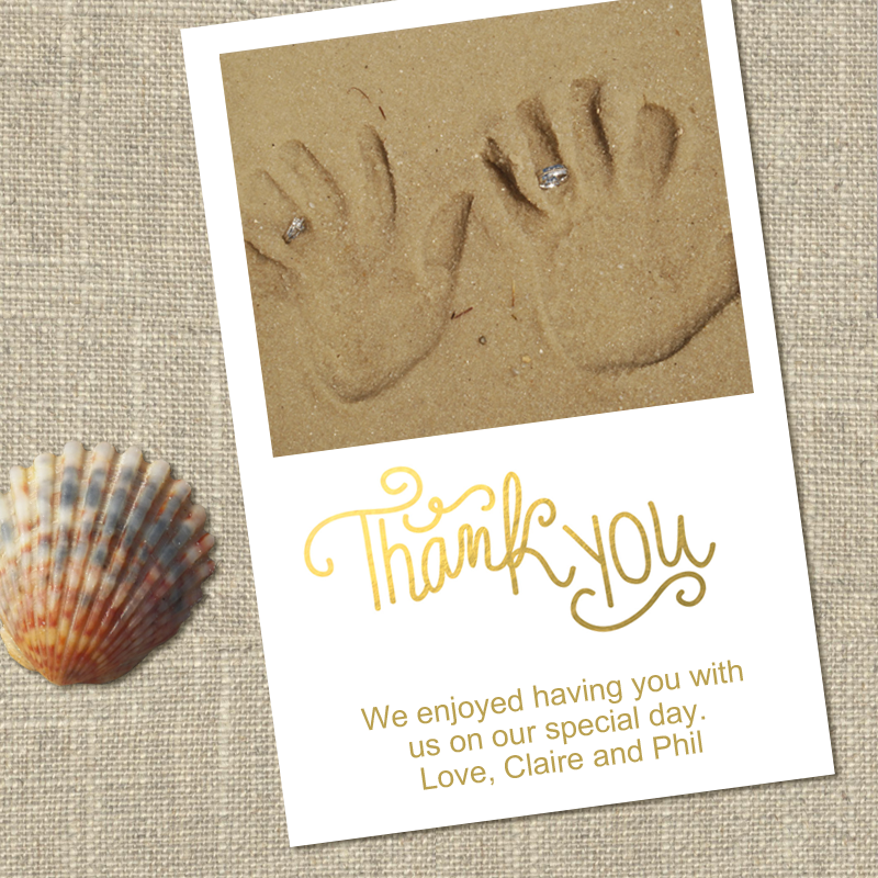 take a moment during your honeymoon to take a picture for your thank you cards something as simple as your handprints and wedding bands in the sand make a - Make Your Own Thank You Cards