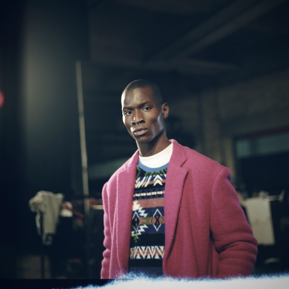 02 Model backstage at the Casely-Hayford show LCM SHAUN JAMES COX
